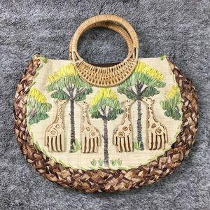 Handbags - 100% Straw bag with wood giraffe detail